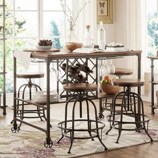 Berwick Industrial Style Counter-height Pub Dining Set with Wine Rack