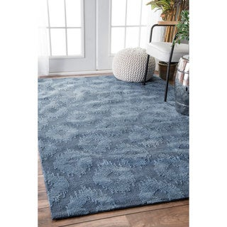 nuLOOM Modern Monochrome Textured Trellis Blue Rug (5' x 8')