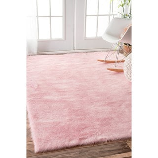 nuLOOM Cozy Soft and Plush Faux Sheepskin Shag Kids Nursery Pink Rug (3' x 5')