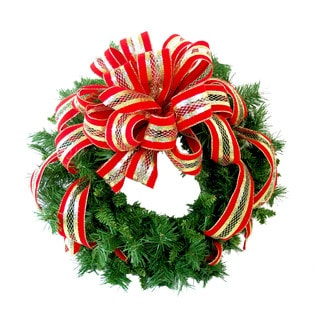"24"" Holiday Wreath With Large Red & Gold Mesh Bow"