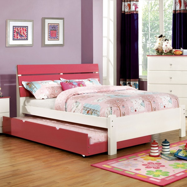 Furniture Of America Piers Two Tone Pinkwhite Slatted Platform Bed