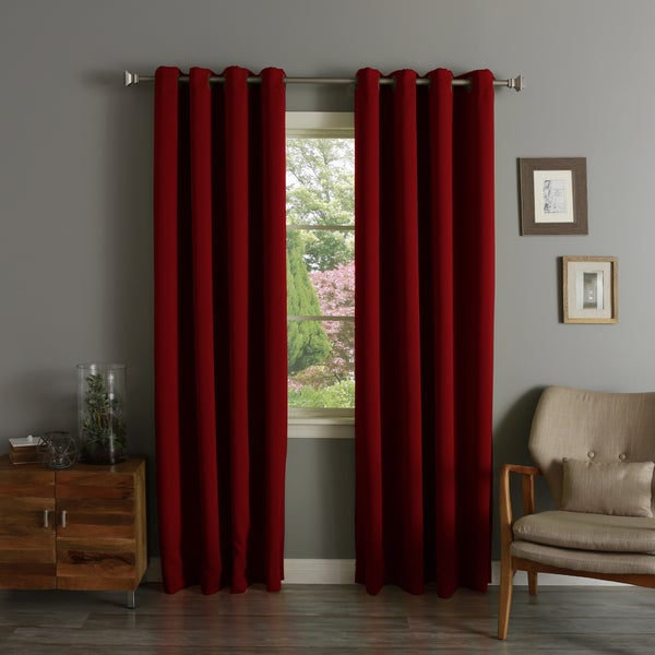"Aurora Home Thermal Insulated Blackout Grommet Top Curtain Panel Pair 90"" in Beige (As Is Item)"