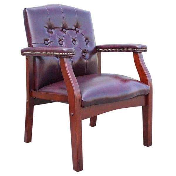 Boss Button-tufted Vinyl Guest Chair with Antique-brass Nailhead Trims (As Is Item)
