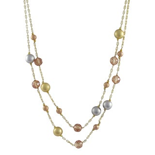 Tri-color Gold Finish Champagne Cubic Zirconia Ball Two-row Necklace