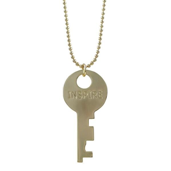 """Gold Finish """"Inspire"""" Key Pendant Necklace"""