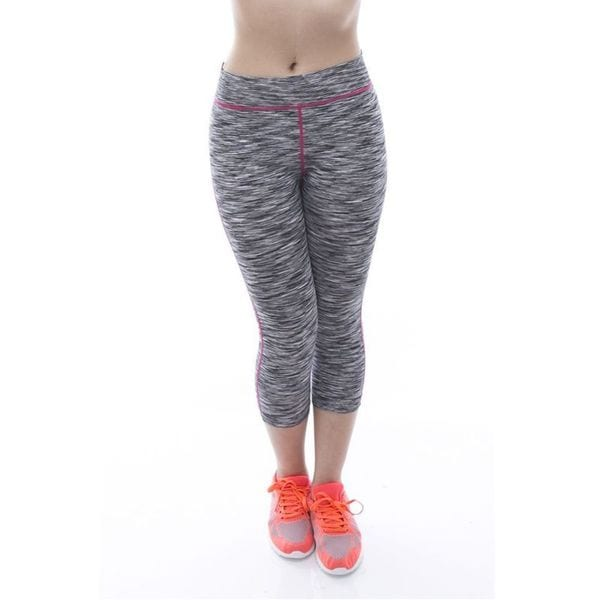 Soho Black Grey Space Dye Capris Sports Pants