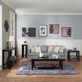 Furniture of America Brietta Black 4-piece Faux Marble Top Accent Table Set