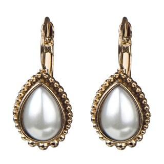 Brass Gold Monarchial Pearl Droplet Earrings