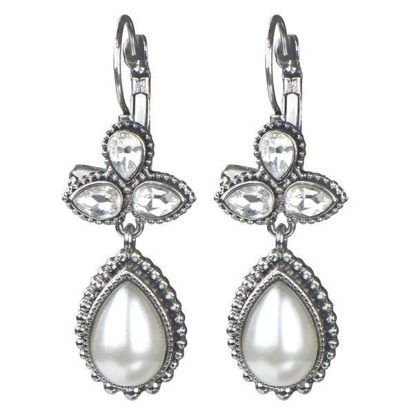 Brass Silver Rhinestone And Pearl Droplet Earrings