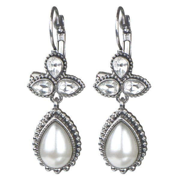 Brass Silver Rhinestone And Pearl Droplet Earrings