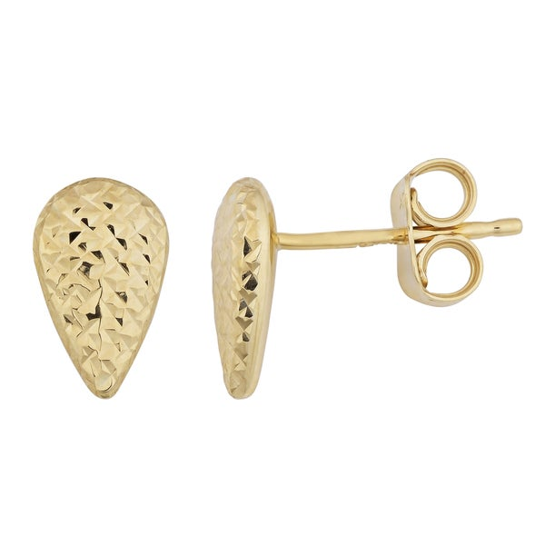 Fremada 10k Yellow Gold Diamond-cut Pear-shaped Stud Earrings