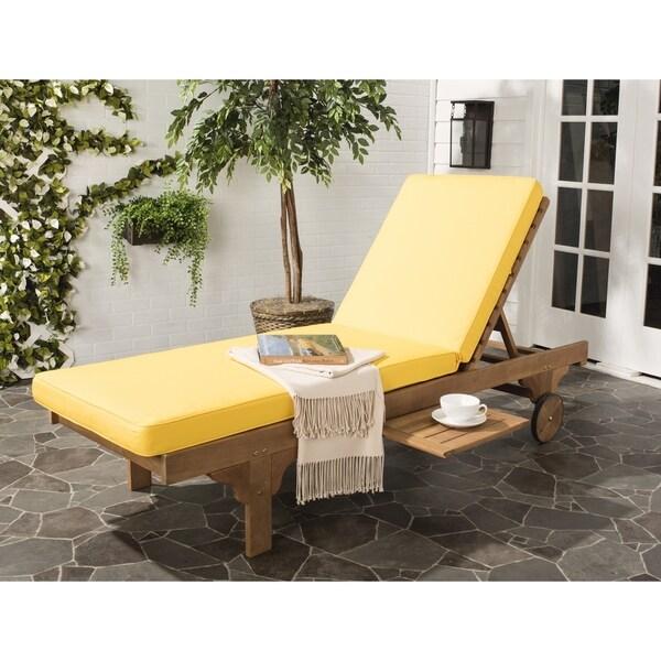 Safavieh Outdoor Living Newport Teak Brown/ Yellow Chaise Lounge Chair
