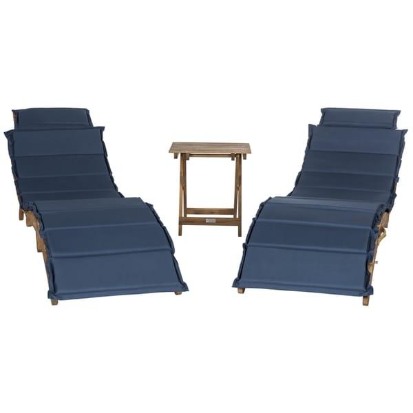 Safavieh Outdoor Living Pacifica Teak Brown/ Navy Piece Lounge Set