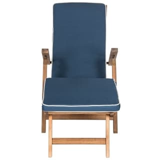 Safavieh Outdoor Living Palmdale Teak Brown/ Navy Lounge Chair