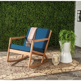 Safavieh Outdoor Living Vernon Brown/ Navy Rocking Chair