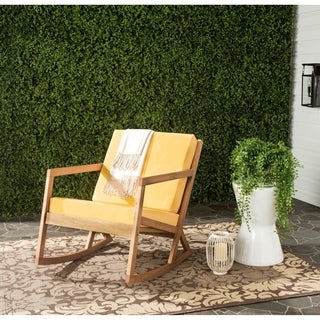 Safavieh Outdoor Living Vernon Teak Brown/ Yellow Rocking Chair