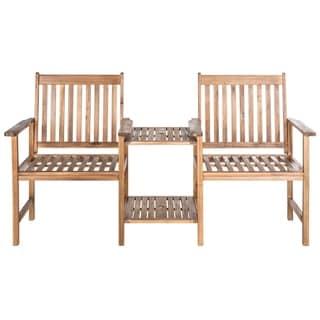 Safavieh Outdoor Living Brea Teak Brown Twin Seat Bench