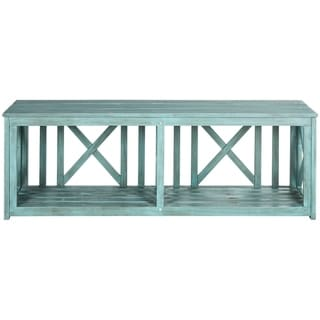 Safavieh Outdoor Living Branco Beach House Blue Storage Bench