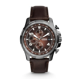 Fossil Men's FS5113 Dean Chronograph Brown Dial Brown Leather Watch