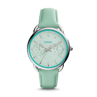 Fossil Women's ES3951 Tailor Multi-Function White Dial Sea Green Leather Watch