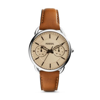 Fossil Women's ES3950 Tailor Multi-Function White Dial Brown Leather Watch