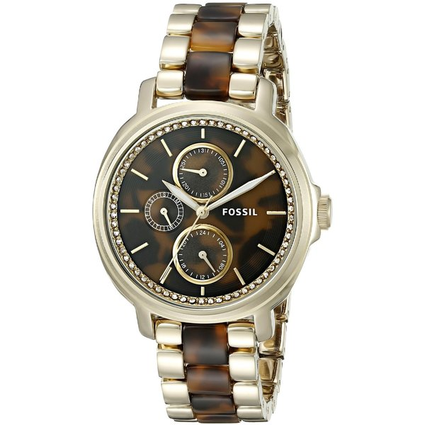 Fossil Women's ES3923 Chelsey Multi-Function Tortoise Dial Two-Tone Bracelet Crystal Accented Watch