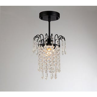 Davila 1-light Black-finish 8-inch Crystal Chandelier