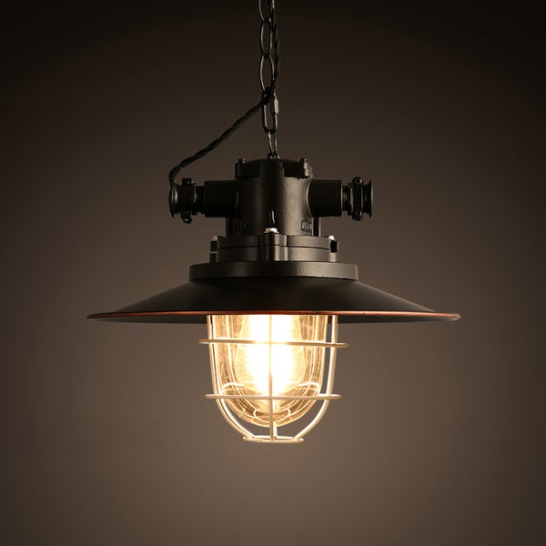 Trevor 1-light Black 12-inch Edison Chandelier with Bulb