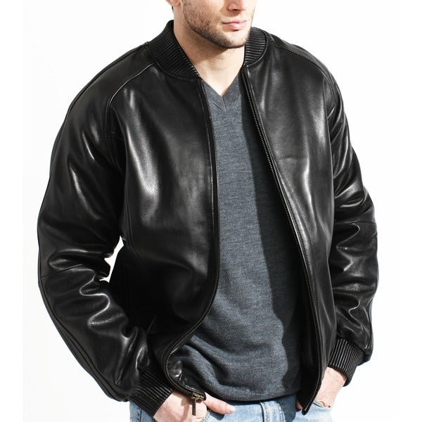 Men's Black Lamb Leather Baseball Bomber