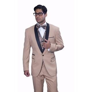 Men's Wool Cap Camel 3-piece Statement Tuxedo Suit