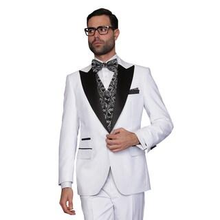 Men's Natalie White Wool 3-piece Statement Tuxedo Suit