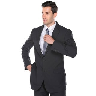 Verno Men's Matte Black Birdseye Textured Classic Fit Italian Styled Two Piece Suit