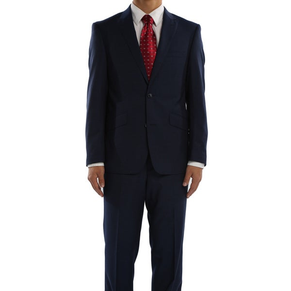 Rivelino Cobalt Blue Micro-Stripe Slim Fit Wool Two Piece Suit