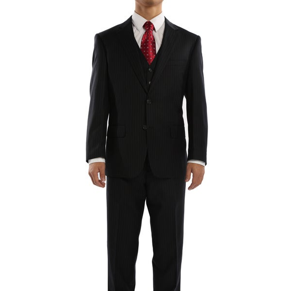 Rivelino Black and Blue Pinstripe Three Piece Wool Suit