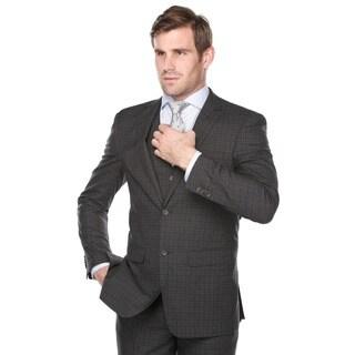 Rivelino Men's Dark Grey and Burgundy Plaid Italian Styled Three Piece Suit
