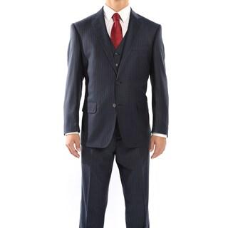 Rivelino Navy Blue and Black Pinstripe Three Piece Wool Suit