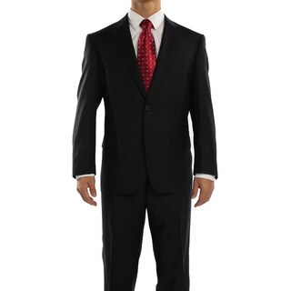 Revelino Men's Black Classic Fit Italian Styled Virgin Wool Suit