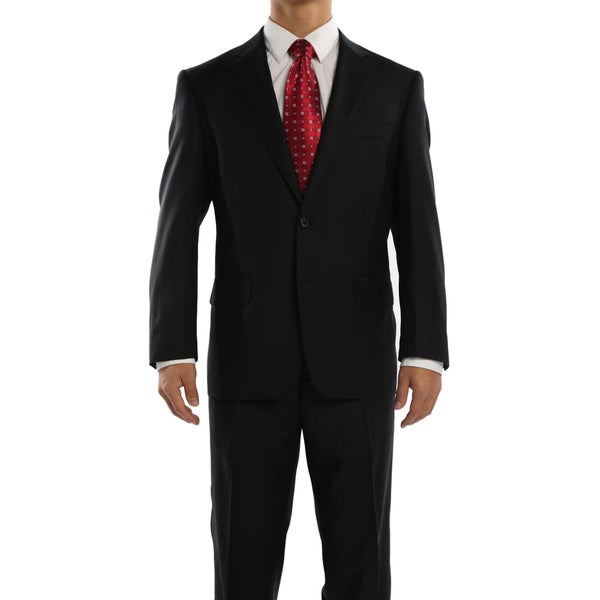 Revelino Men's Black Classic Fit Italian Styled Virgin Wool Suit