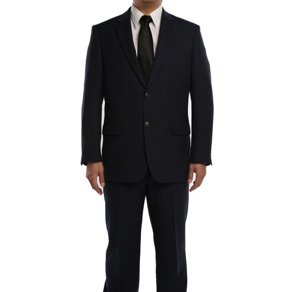 Verno Men's Cobalt Blue Birdseye Textured Classic Fit Italian Styled Two Piece Suit
