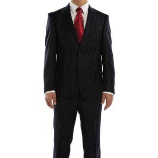 Rivelino Navy Chalk Stripe Slim Fit Wool Italian Styled Two Piece Suit