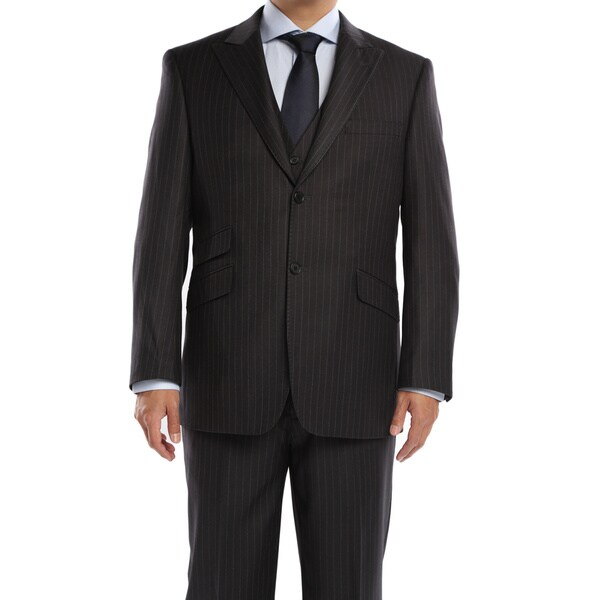 Verno Galano Men's Dark Grey Pinstripe Slim Fit Italian Styled 3-Piece Suit