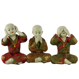 Resin Meditating Monk (Hear/See/Speak) No Evil Figurine Assortment of Three Painted Finish Beige