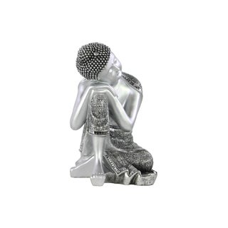Resin Painted Silver Finish Buddha with Small Ushnisha with Head Resting on Knee