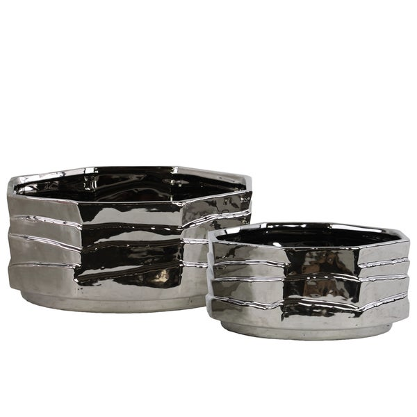 Ceramic Octagonal Pot Set of Two Polished Chrome Finish Silver