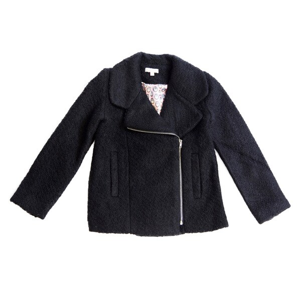 Girl's Moto Inspired Zipper Front Wool Jacket