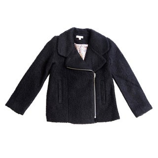 Girl's Moto Inspired Zipper Front Wool Jacket