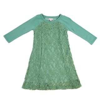 Girl's Lace Panel Long-Sleeve Dress