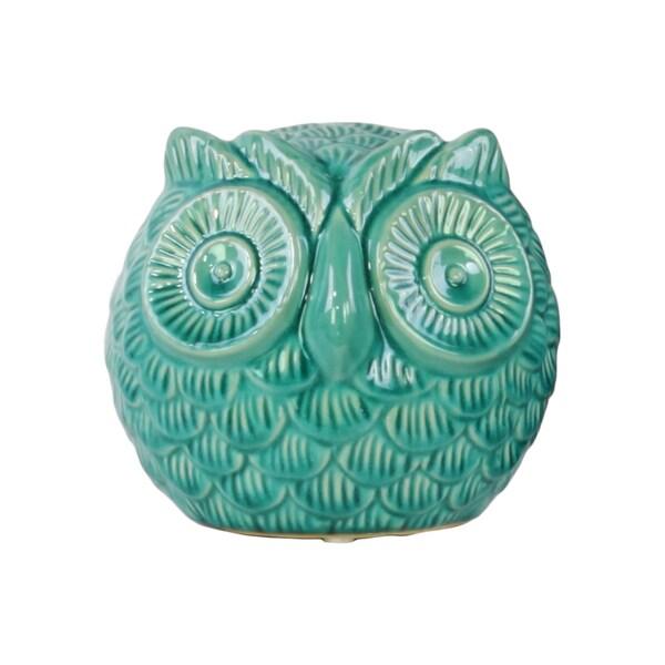Urban Trends Spherical Owl Gloss Turquoise Ceramic Large Figurine