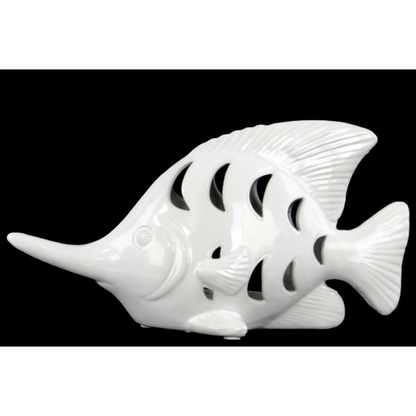 White Ceramic Fish Figurine with Cutout Design