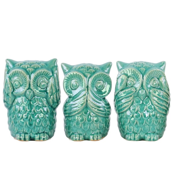Ceramic Owl No Evil Figurine Assortment (Set of 3)